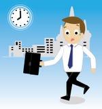 Vettore dell'uomo d'affari che affretta per lavorare Royalty Illustrazione gratis
