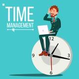 Vettore dell'uomo della gestione di tempo Orologio enorme, orologio controllo indugio Illustrazione di affari illustrazione di stock