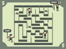 Vettore dell'uomo di affari che scopre l'uscita di labirinto Immagine Stock Libera da Diritti