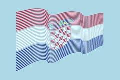 Vettore della bandiera della Croazia su fondo blu Bande bandiera, linea di Wave Fotografia Stock
