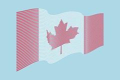 Vettore della bandiera del Canada su fondo blu Bande bandiera, linea i di Wave Immagine Stock Libera da Diritti