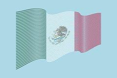 Vettore della bandiera del Messico su fondo blu Bande bandiera, linea i di Wave Fotografia Stock Libera da Diritti
