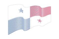 Vettore della bandiera del Panama su fondo blu Bande bandiera, linea i di Wave Immagini Stock Libere da Diritti