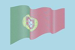 Vettore della bandiera del Portogallo su fondo blu Bande bandiera, linea di Wave Immagine Stock