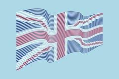 Vettore della bandiera del Regno Unito su fondo blu Wave barra il Britannico Fotografia Stock Libera da Diritti