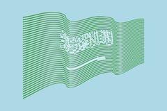 Vettore della bandiera dell'Arabia Saudita su fondo blu Bandiera delle bande di Wave, Immagine Stock