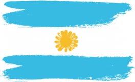 Vettore della bandiera dell'Argentina dipinto a mano con la spazzola arrotondata Fotografie Stock Libere da Diritti