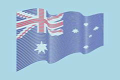 Vettore della bandiera dell'Australia su fondo blu Bande bandiera, Lin di Wave Immagine Stock