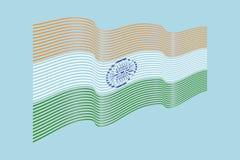 Vettore della bandiera dell'India su fondo blu Bande bandiera, linea IL di Wave Immagini Stock