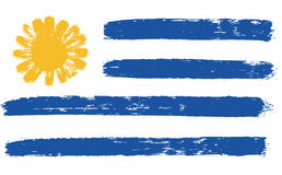 Vettore della bandiera dell'Uruguay dipinto a mano con la spazzola arrotondata Immagini Stock