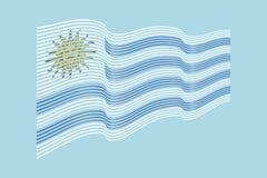 Vettore della bandiera dell'Uruguay su fondo blu Bande bandiera, linea di Wave Fotografie Stock Libere da Diritti