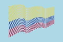 Vettore della bandiera di Colombia su fondo blu Bande bandiera, linea di Wave Fotografie Stock Libere da Diritti