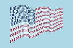 Vettore della bandiera di U.S.A. su fondo blu Bandiera delle bande di Wave dell'unito di Fotografia Stock Libera da Diritti