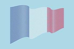 Vettore della bandiera della Francia su fondo blu Bande bandiera, linea i di Wave Immagine Stock Libera da Diritti