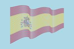 Vettore della bandiera della Spagna su fondo blu Bande bandiera, linea IL di Wave Immagini Stock Libere da Diritti