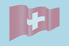 Vettore della bandiera della Svizzera su fondo blu Bande bandiera, l di Wave Immagine Stock Libera da Diritti