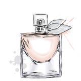 Vettore della bottiglia di profumo Stampa d'avanguardia Modo & stile Profumo Acquerello del profumo Fotografia Stock