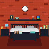 Vettore della camera da letto con il muro di mattoni Immagine Stock Libera da Diritti