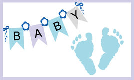 Vettore della cartolina d'auguri delle stampe dei piedi del neonato Fotografie Stock Libere da Diritti