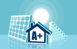 Vettore della casa con i pannelli solari fotografia stock