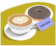 Vettore della ciambella del cioccolato e della tazza di caffè illustrazione di stock