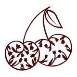 Vettore della ciliegia, scarabocchio di zen della ciliegia Fotografia Stock Libera da Diritti