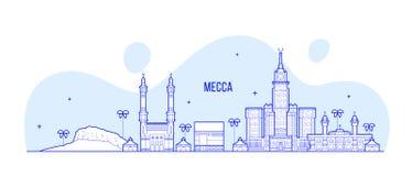 Vettore della città dell'Arabia Saudita dell'orizzonte di Mecca Makkah grande immagini stock libere da diritti