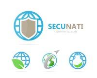 Vettore della combinazione di logo del pianeta e dello schermo Sicurezza e simbolo o icona del mondo Unico protegga e logotype de illustrazione di stock