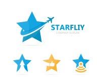 Vettore della combinazione di logo dell'aeroplano e della stella Modello unico di progettazione del logotype di viaggio e del cap Fotografia Stock Libera da Diritti