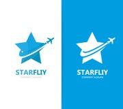 Vettore della combinazione di logo dell'aeroplano e della stella Modello unico di progettazione del logotype di viaggio e del cap Fotografia Stock