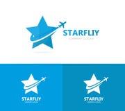 Vettore della combinazione di logo dell'aeroplano e della stella Modello unico di progettazione del logotype di viaggio e del cap Immagini Stock