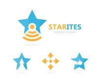 Vettore della combinazione di logo della boccetta e della stella Modello unico di progettazione del logotype del laboratorio e de Immagini Stock
