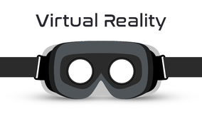 Vettore della cuffia avricolare degli occhiali di protezione VR di realtà virtuale fotografia stock libera da diritti
