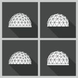 Vettore della cupola geodetica piano Immagini Stock Libere da Diritti