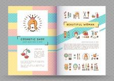 Vettore della donna del catalogo cosmetico dell'opuscolo dell'insegna di bellezza bello Fotografie Stock