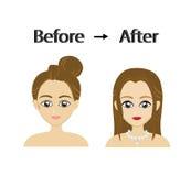 Vettore della donna prima e dopo trucco Illustrazione Vettoriale