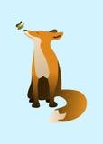 Vettore della farfalla e di Fox rosso Fotografia Stock Libera da Diritti