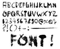 Vettore della fonte tipografica di Grunge + caratteri speciali illustrazione di stock