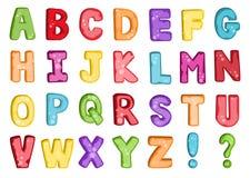 Vettore della fonte variopinta stilizzata e dell'alfabeto Fotografia Stock
