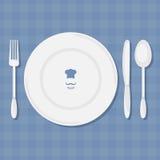 Vettore della forchetta, del coltello, del cucchiaio e del piatto illustrazione di stock