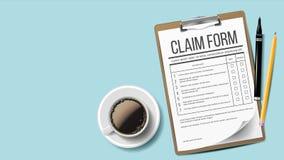 Vettore della forma di reclamo Medico, lavoro di ufficio dell'ufficio clipboard Fondo Tazza di caffè, matita Illustrazione realis royalty illustrazione gratis