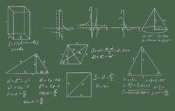 Vettore della geometria e di matematica su verde illustrazione di stock