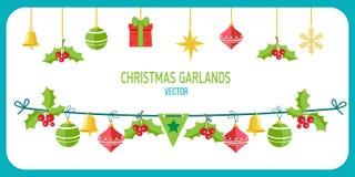 Vettore della ghirlanda di Natale Clip Art On White Background di vettore di vacanze invernali Nuovo anno Garland Decorations Fotografie Stock