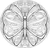 Vettore della mandala della farfalla di coloritura Fotografie Stock Libere da Diritti