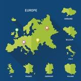 Vettore della mappa dei paesi di Europeian e di Europa Immagine Stock Libera da Diritti