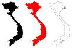 Vettore della mappa del Vietnam royalty illustrazione gratis