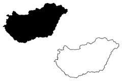 Vettore della mappa dell'Ungheria Immagini Stock