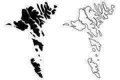 Vettore della mappa di isole faroe Immagini Stock