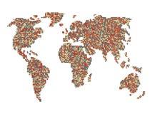 Vettore della mappa di mondo Fotografia Stock Libera da Diritti