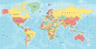 Vettore della mappa di mondo Illustrazione dettagliata di worldmap Fotografia Stock